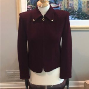 St. John burgundy knit jacket size 2